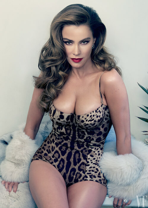 Sofia Vergara posing for Vanity Fair's May 2015 Cover Shoot