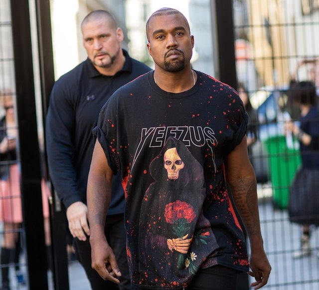 Kanye West wearing Yeezus during Spring / Summer 2015 Paris Fashion Week