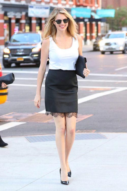 Kate Upton in Black Mini Skirt in June 2016