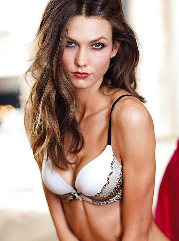 Karlie Kloss in white bra