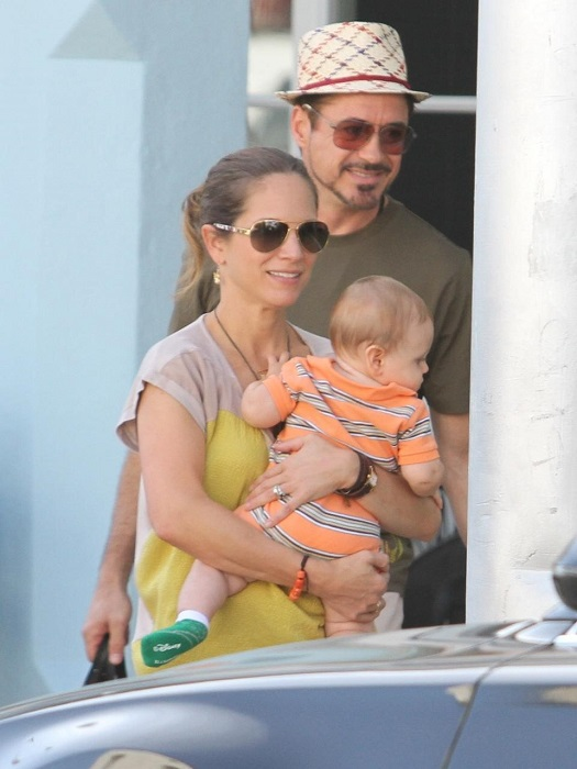 Robert Downey Jr with family