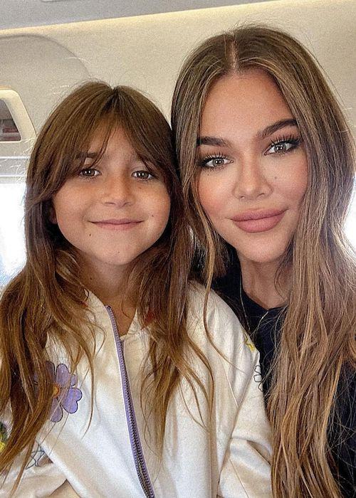 Khloe Kardashian and Penelope Scotland Disick in July 2021 on Penelope's 9th birthday