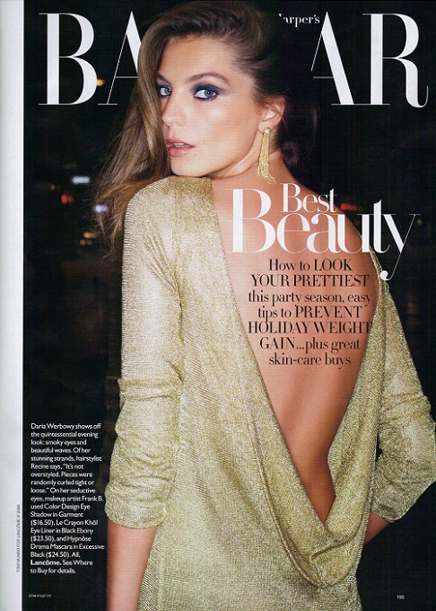 Daria Werbowy Harper's Bazaar December 2009 Issue