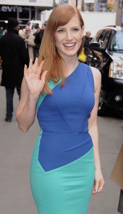Jessica Chastain wearing Roland Mouret at Good Morning America.