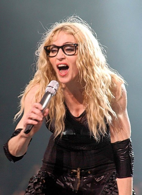Madonna wearing spectacles