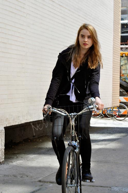 Model Ali Michael doing cycling