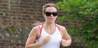 Kimberley Walsh Running outdoors.