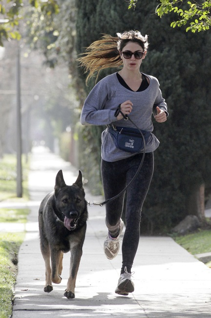 Nikki Reed workout with dog