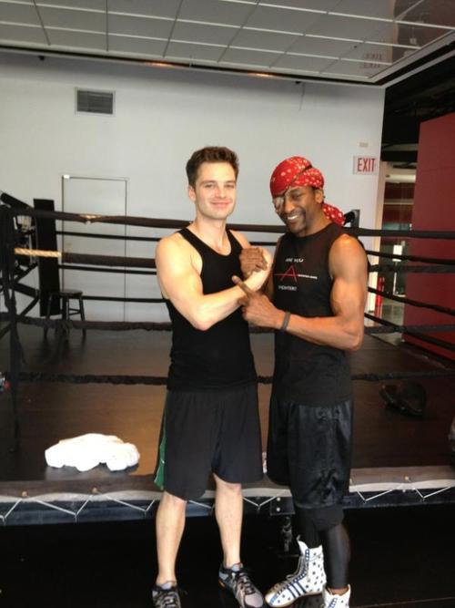 Sebastian Stan with boxing trainer Michael Olajide Jr
