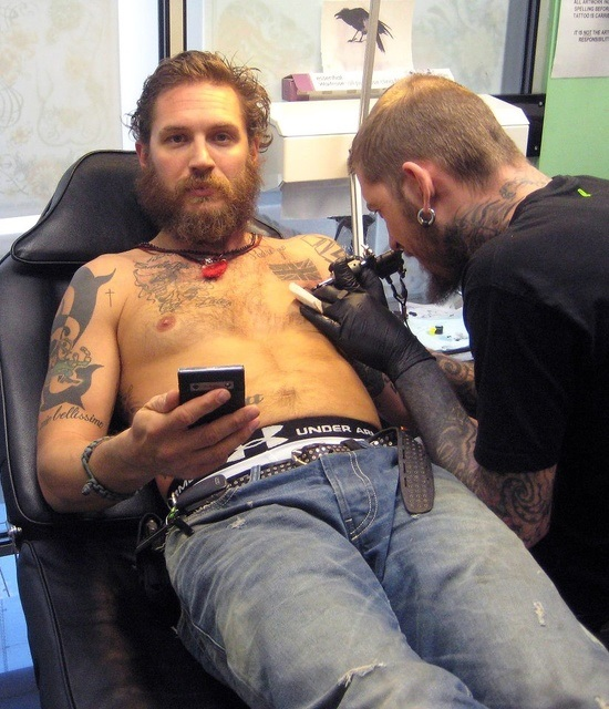 Tom Hardy tattooed body