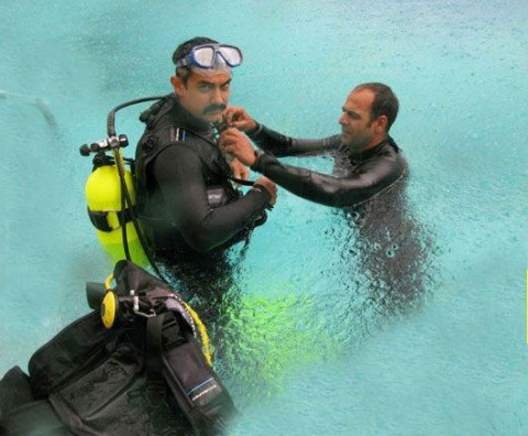 Aamir Khan scuba diving for Dhoom 3