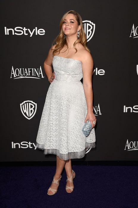 Sasha Pieterse at InStyle and Warner Bros 2015 Golden Globes Party.