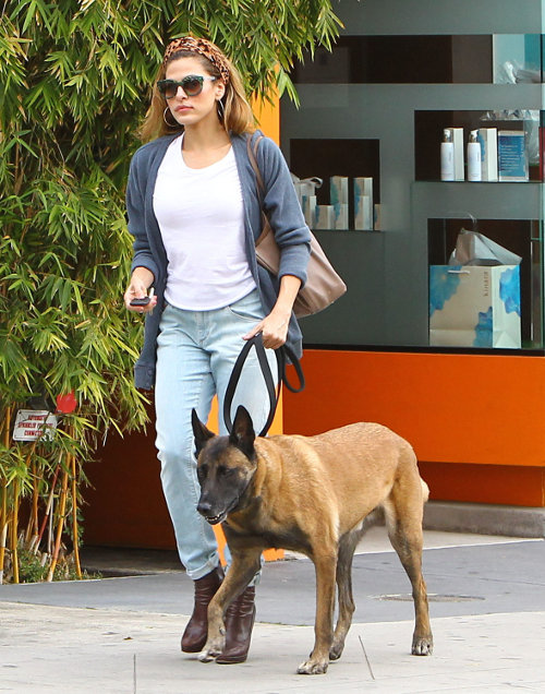 Eva Mendes strolling the dog