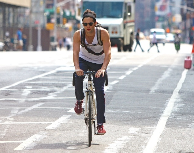 Penn Badgley cycling