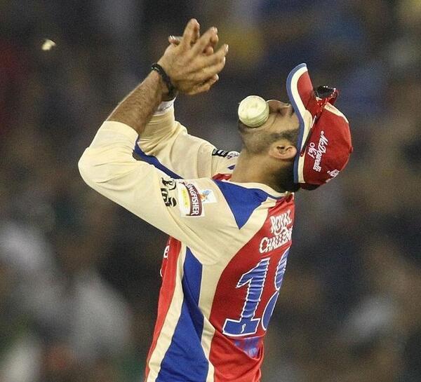 Virat Kohli fielding in IPL for RCB in a match against Kings XI Punjab.