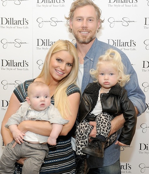Eric Johnson and Jessica Simpson with children