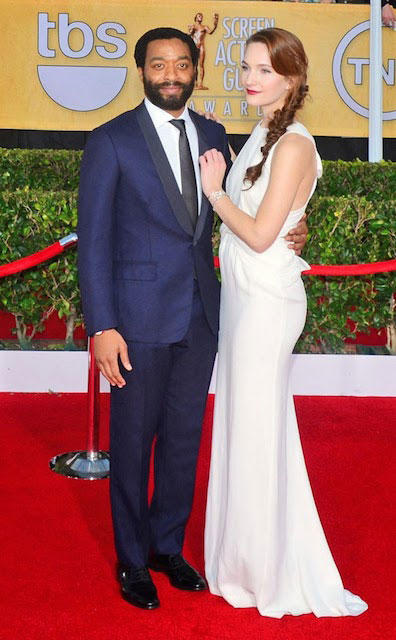 Chiwetel Ejiofor and Sari Mercer during SAG Awards 2014
