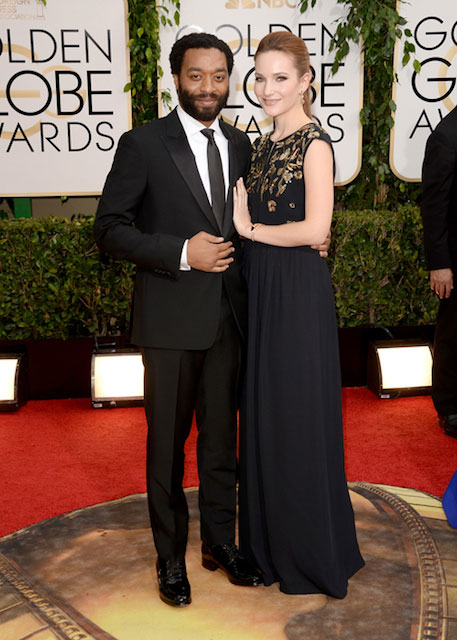 Chiwetel Ejiofor and Sari Mercer during Golden Globes 2014
