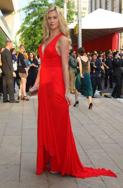 Ireland Baldwin in red dress