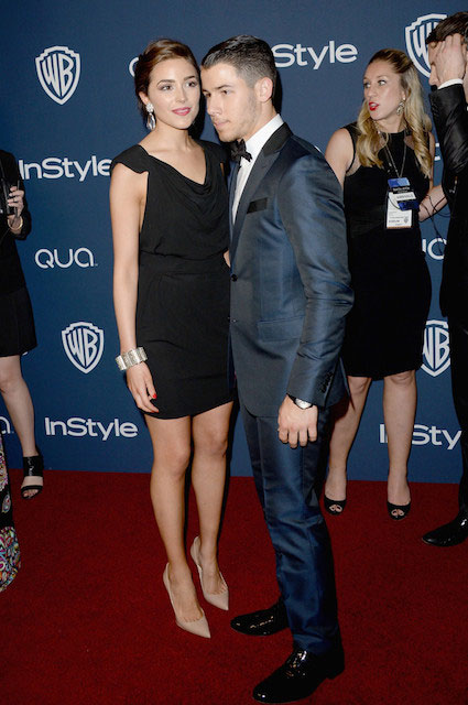 Olivia-Culpo and Nick Jonas during Golden Globe Awards Party 2014