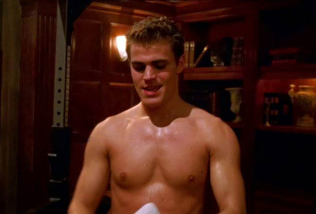 "Paul Wesley shirtless in a still from ""The Vampire Diaries"""