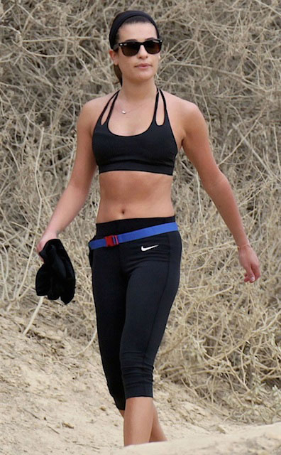 Lea Michele revealing her abs while hiking