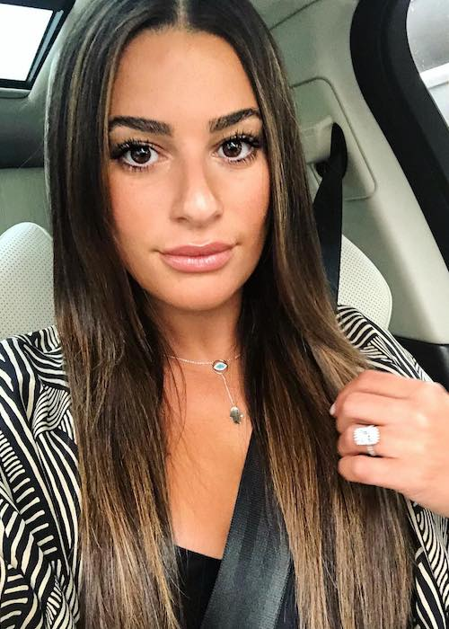 Lea Michele during a car selfie in August 2018
