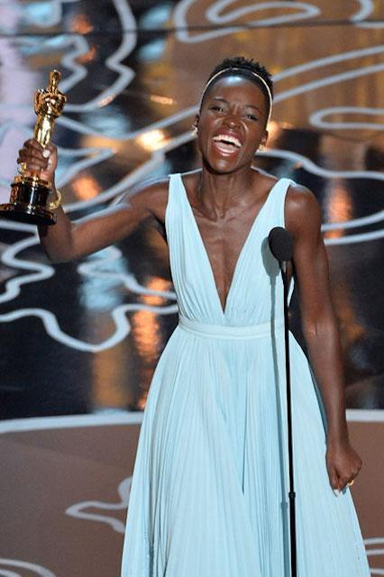 Lupita Nyong'o wins an Oscar for supporting role in 12 Years a Slave on March 2, 2014