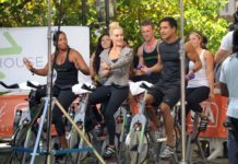 Peta Murgatroyd and Mario Lopez doing workout on the set of Extra