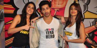 Varun Dhawan, Ileana D'Cruz and Nargis Fakhri workout for Main Tera Hero