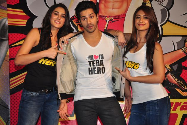 Varun Dhawan, Ileana D'Cruz and Nargis Fakhri workout for Main Tera Hero