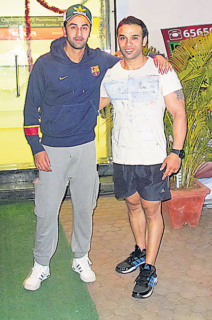 Ranbir Kapoor and his trainer Pradeep Bhatia.