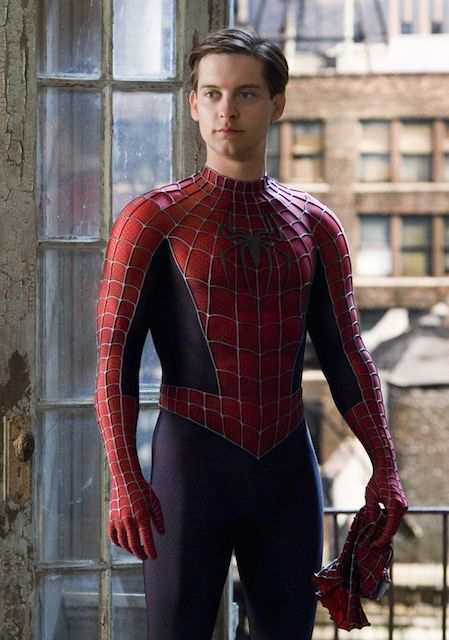 Tobey Maguire as Spiderman having fit body