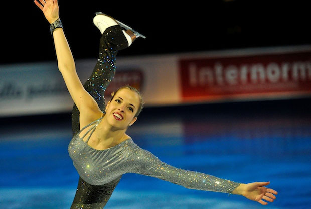 Carolina Kostner showing her bulging breasts