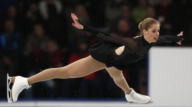 Carolina Kostner doing figure skating