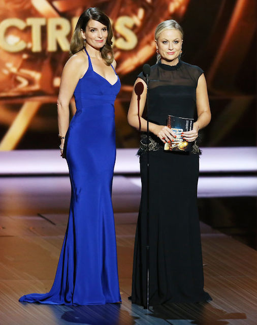 Tina Fey and Amy Poehler hosting the Golden Globe Awards