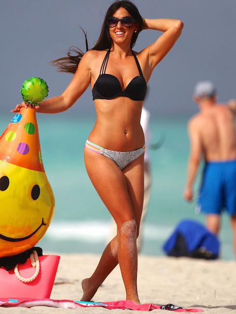 Claudia Romani in bikini on Miami beach in April 2014