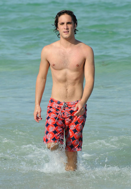 Diego Boneta shirtless on set of Rock of Ages