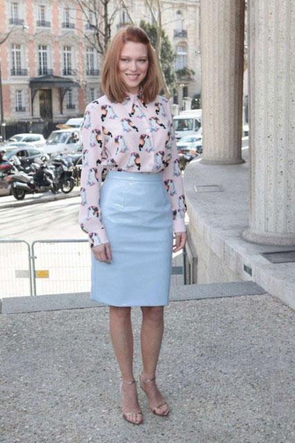Lea Seydoux at Miu Miu Fashion Show in Paris