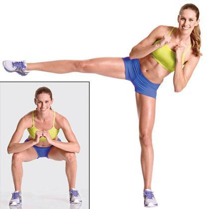 Squat and side kick