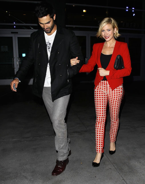 Tyler Hoechlin and Brittany Snow leave the Beyonce concert at The Staples Center on July 1, 2013