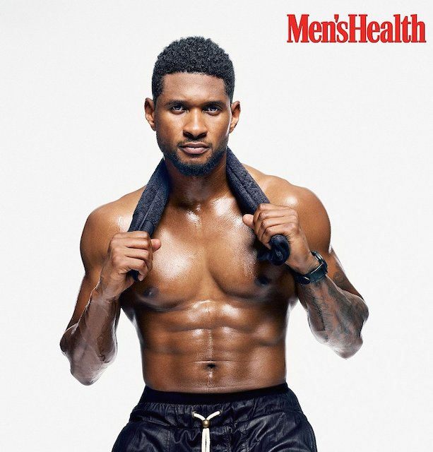 Usher posing for Men's Health Magazine in their November 2013 Issue