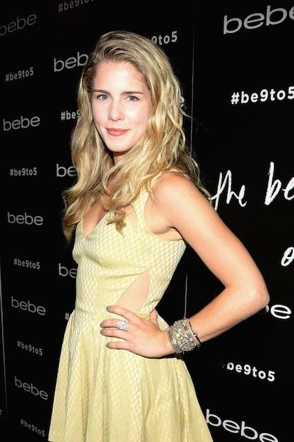 Emily Bett Rickards at BeBe fall launch in New York