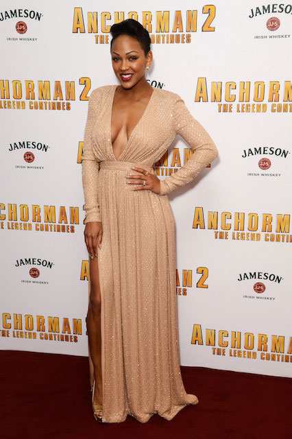 Meagan Good at Anchorman 2 - The Legend Continues premiere in Ralph Russo Gown