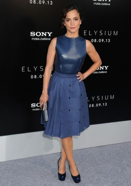 Alice Braga attending the Los Angeles premiere of Elysium at the Regency Village Theatre