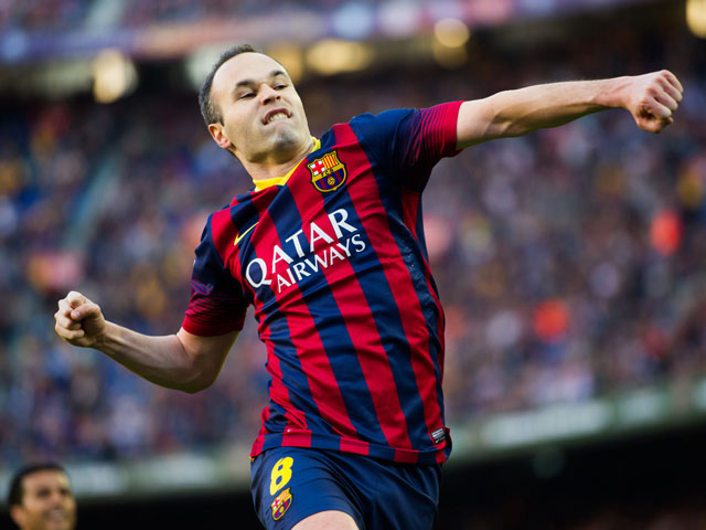 Andres Iniesta enjoying after scoring a goal
