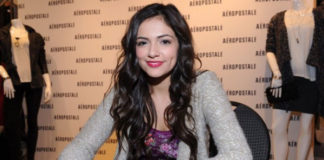 Bethany Mota showing off her Aeropostale Clothing Line