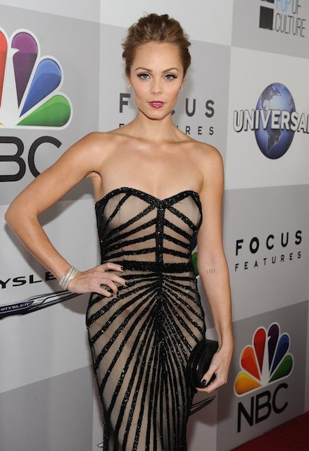 Laura Vandervoort wears Rachel Gilbert at NBC Universal's 2014 Golden Globe Awards After Party