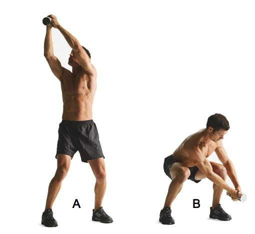Squat with reverse wood chop