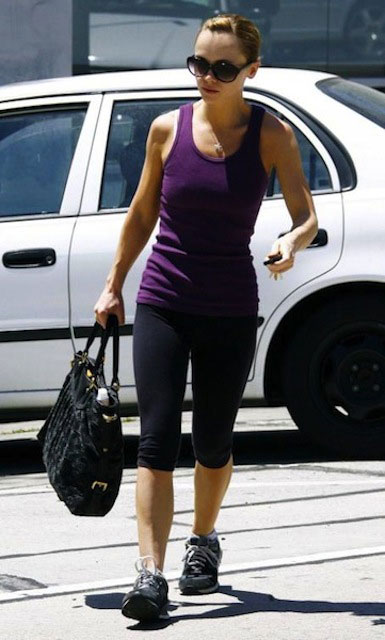 Christina Ricci after a workout session.